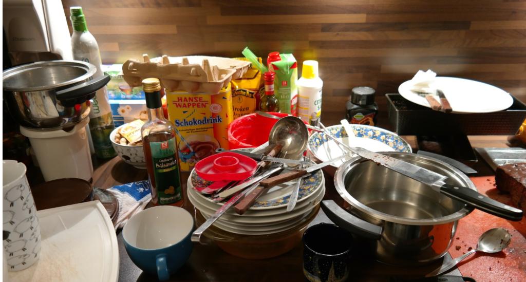 Messy kitchen scene