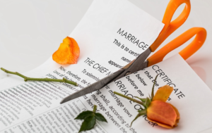 Marriage certificate and rose being cut by scissors