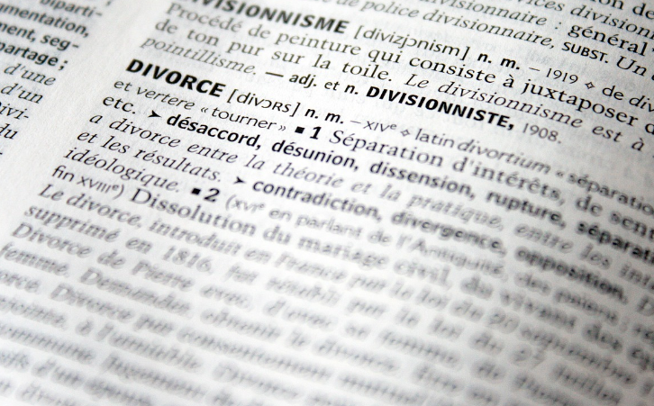 Close up of divorce definition in dictionary