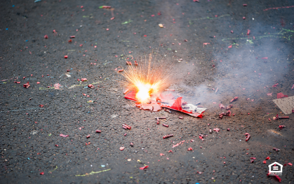 Package of firecrackers exploding