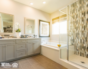 Beautiful Custom Master Bathroom with Gray Cabnets