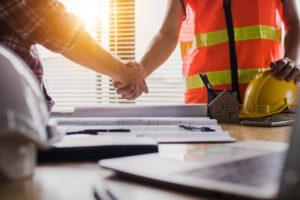 Bixby Contractor and Property Owner Shaking Hands