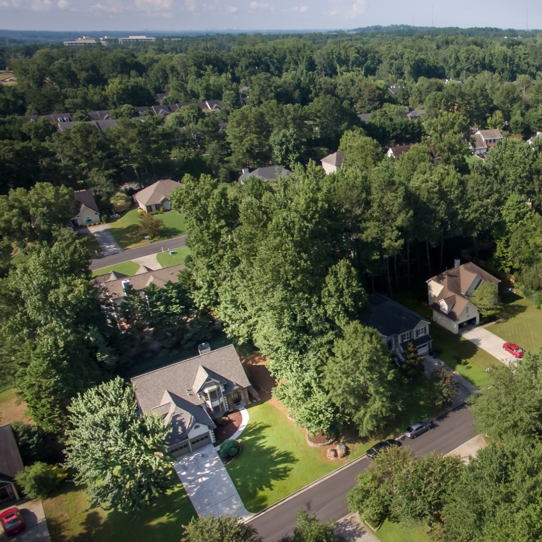 Aerial View of Suburban Houses in Duluth GA