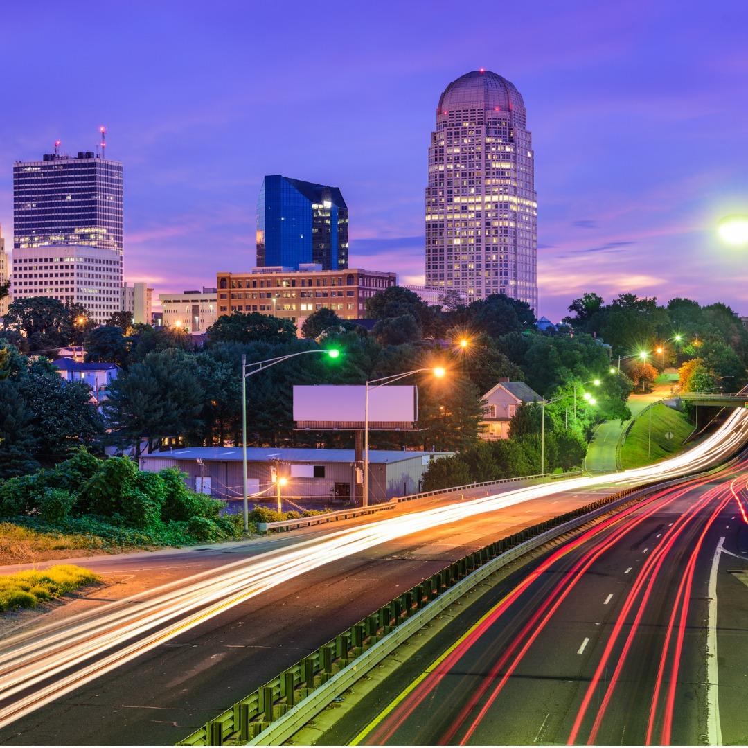 Winston-Salem, North Carolina, at dusk