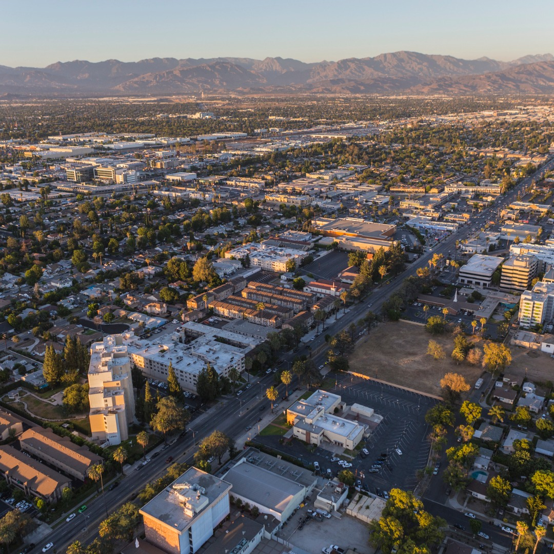 Aerial View of Sherman Way in the San Fernando Valley