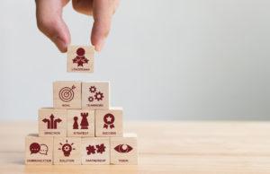 Blocks depicting Key success factors for leadership elements concept