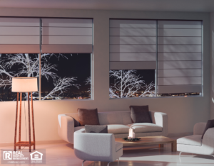 Airway Heights Living Room in the Evening with Beautiful Shades