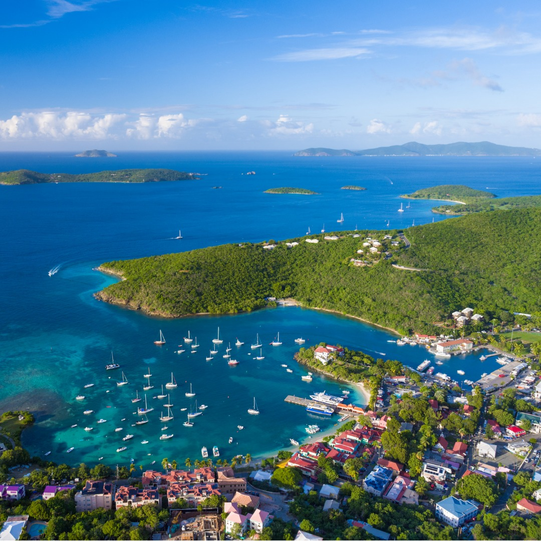 Aerial View of Cruz Bay and Port St John