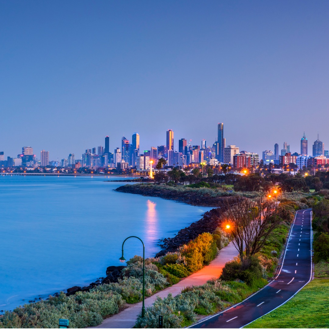 Twilight View of the Melbourne Beach Cityscape