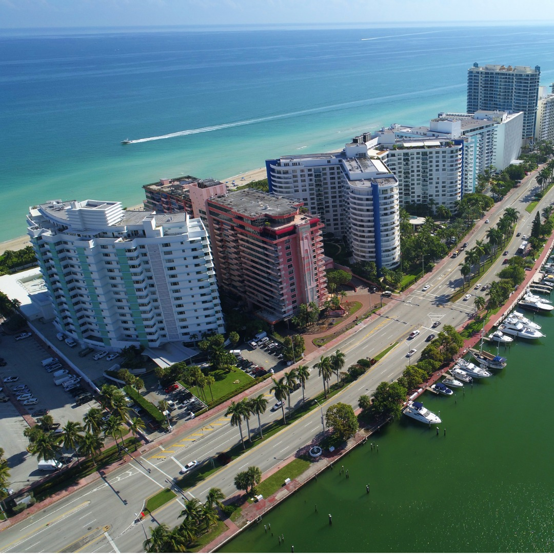 Indian Beach: Aerial View Of Miami Beach And Indian Creek
