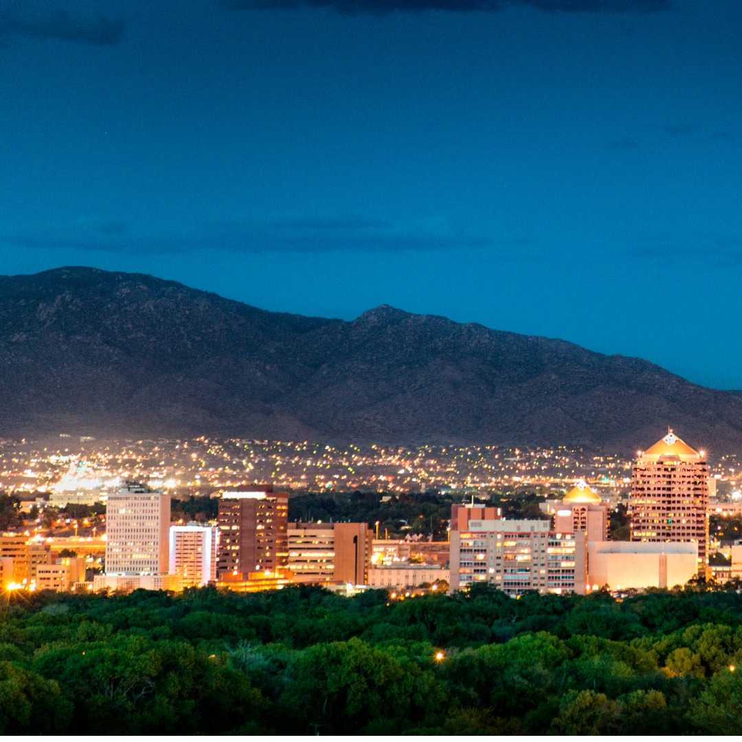 Albuquerque, New Mexico, skyline at dusk