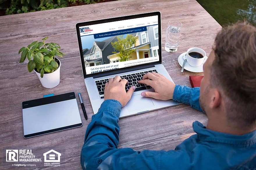 New investor researching property management on laptop