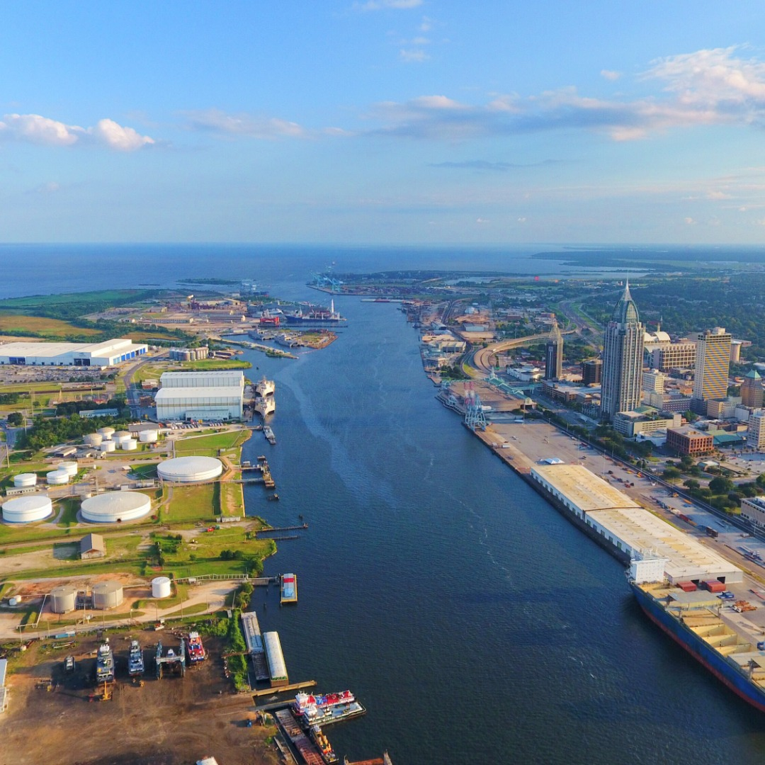 Mobile, Alabama, divided by Mobile River