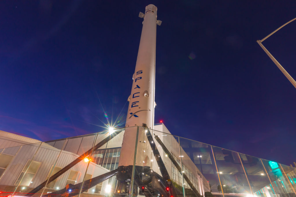 SpaceX Headquarters in Hawthorne California as a long exposure shot