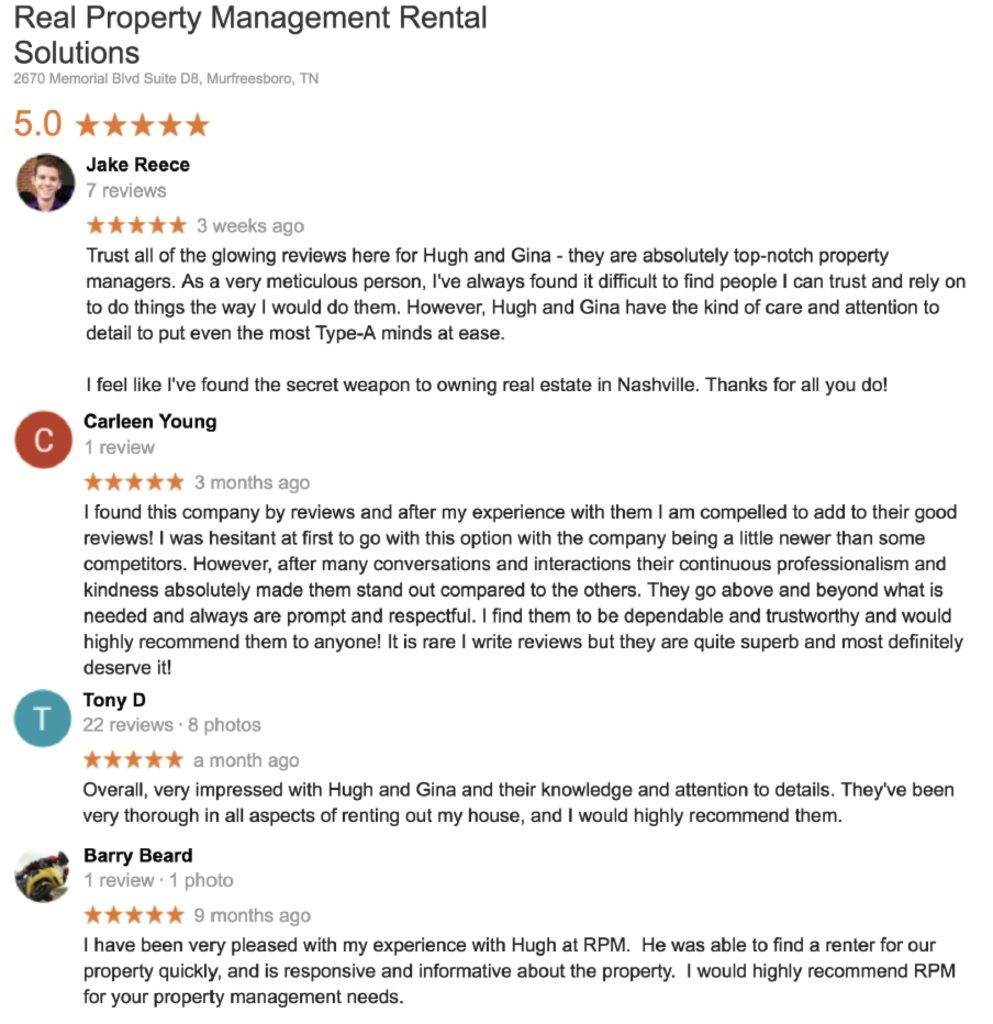 RPM Rental Solutions 5 star reviews