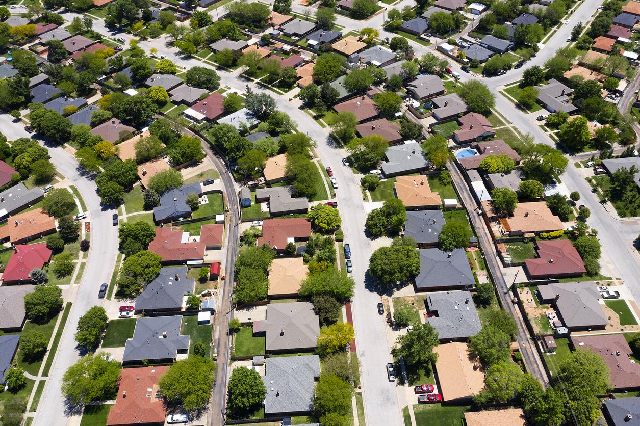 Aerial view of suburb housing developmen