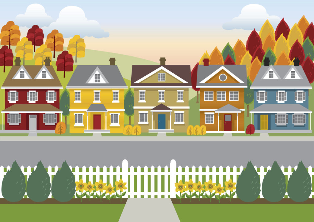 artistic depiction of a row of quaint houses in the Autumn countryside