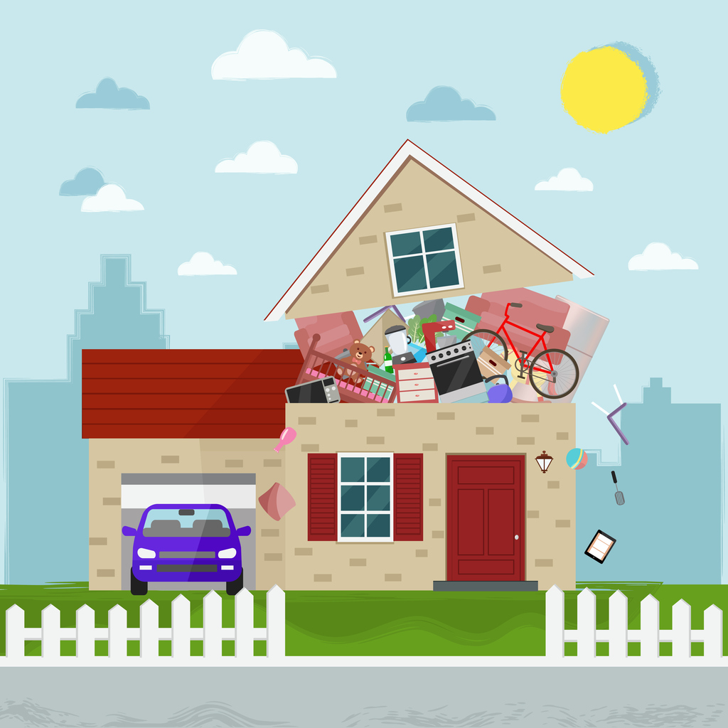 illustration of a house that is bursting with the sheer number of items stored within