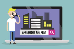 animated blonde young male looking through a magnifying glass for an apartment to rent online.