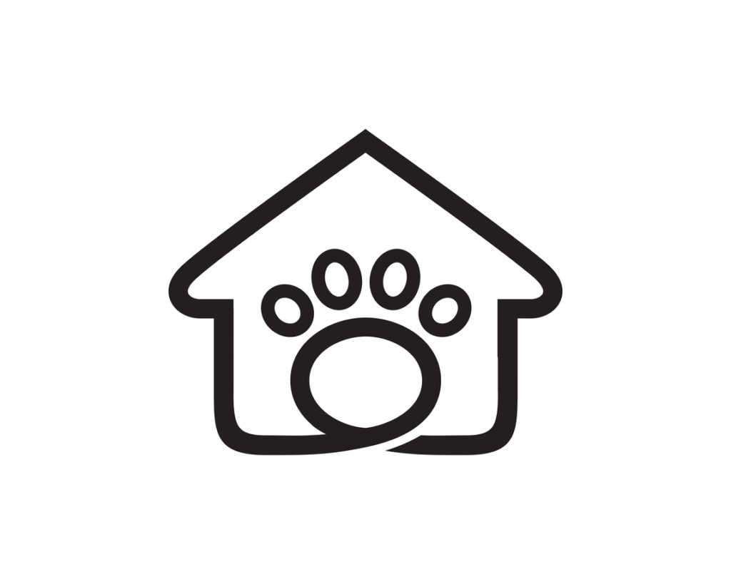 basic illustration of outline of house with large paw print in the middle