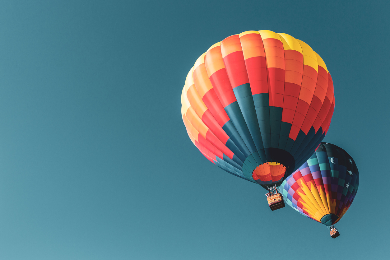 Colorful hot air balloons flying in Michigan