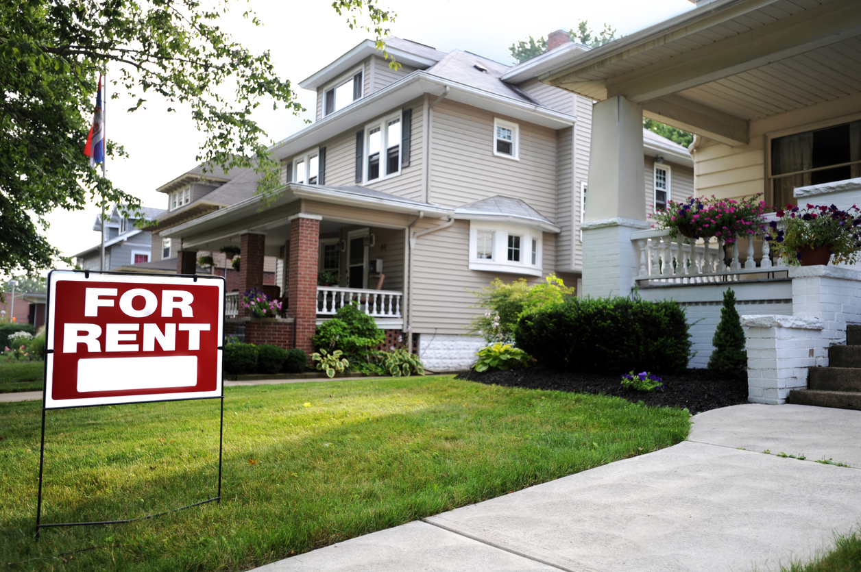 Big Rapids Rental Property with a For Rent Sign in the Front to Attract New Renters