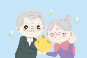 Cartoon Older Couple Holding a Piggybank