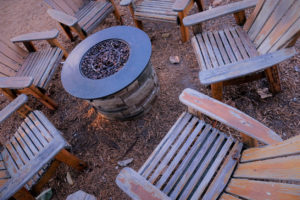 Cary Rental Property with a Firepit Installed in the Backyard