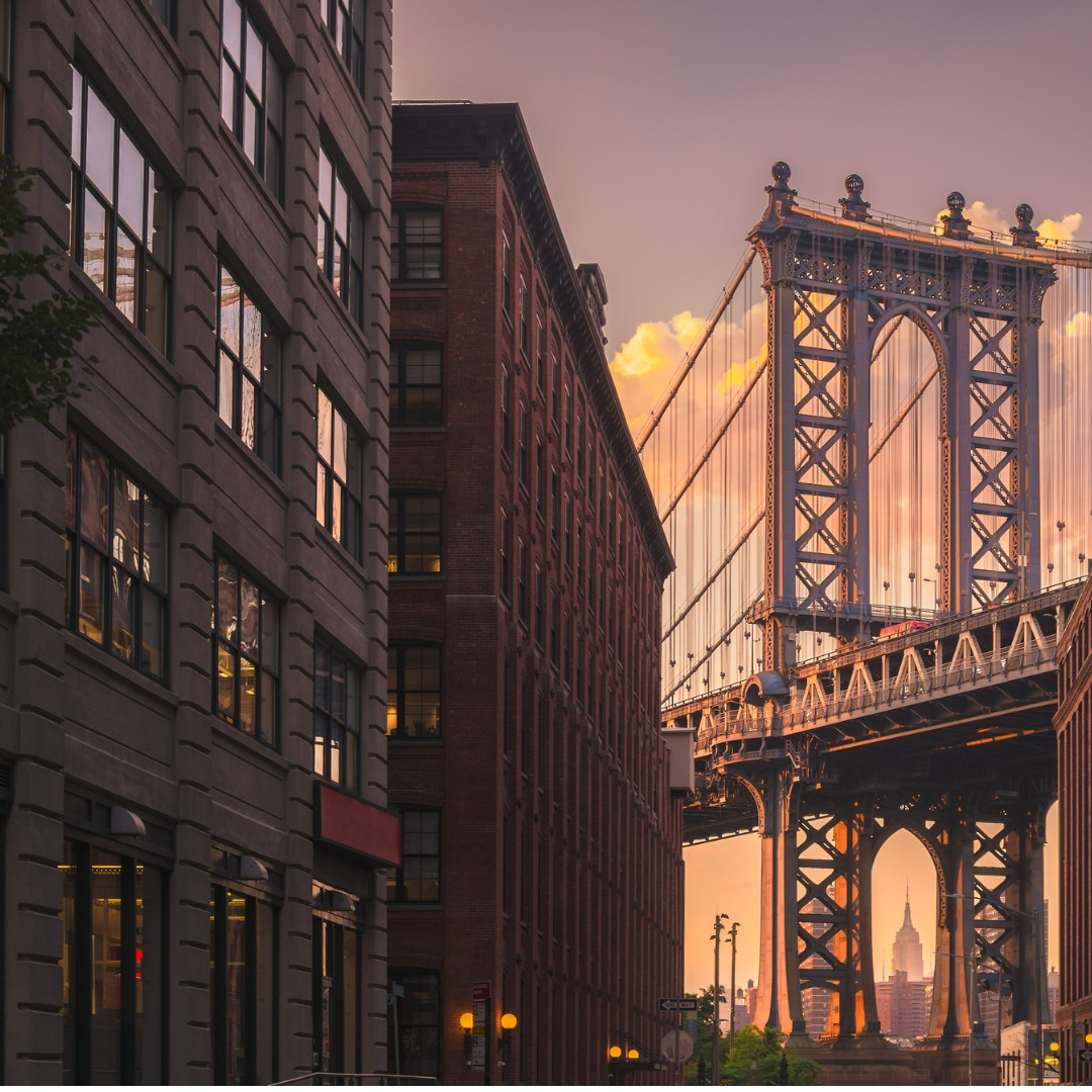 A View of the Manhattan Bridge from a Neighborhood in Brooklyn, NY