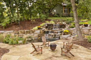 Yardley Rental Property with Elaborate Landscaping, Concrete Patio, and Custom Waterfall