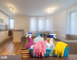 Clean Delta Rental Home Living Room with Cleaning Supplies