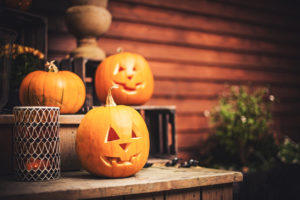 Jack O' Lantern on Porch Steps of a Batesville Rental Property