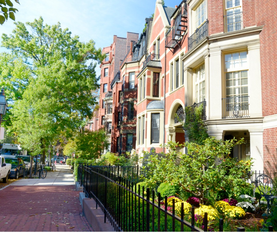 Beautiful Homes Along an Avenue in Boston MA