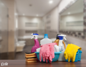 Cleaning Supplies as the Focal Point of a Bathroom in a Boston Rental Home