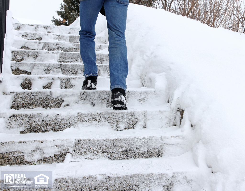 Kempner Tenant Climbing Dangerously Icy Steps in Winter