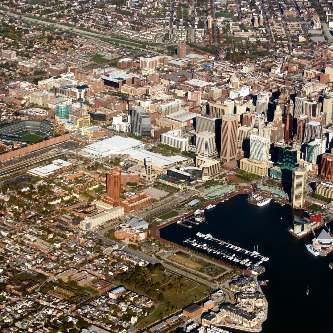 Aerial View of Baltimore City and The Harbor