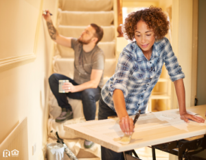 Woman and Man Re-Painting Ellicott City Home Interior