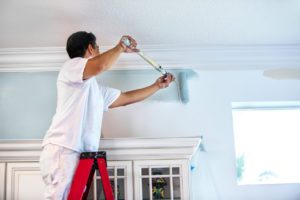 Golden Valley Property Owner on Ladder Painting Interior Walls with Roller