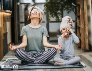 Mother and Daughter Practicing Yoga in Their Battle Lake Home