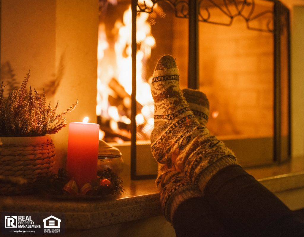 Fargo Tenant Warming Their Toes by the Cozy Fireplace