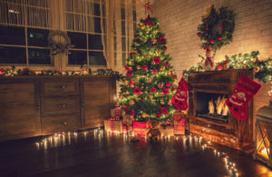 A Decorated Christmas Tree in the Living Room of a Rental Property in Fortuna