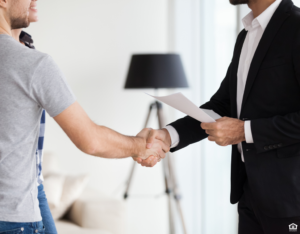 Austin Couple Meeting With Landlord
