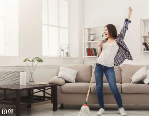 West Lake Hills Woman Tidying the Living Room