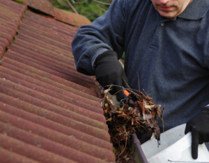 Huntersville Rental Property Owner Cleaning the Gutters for Spring Cleaning