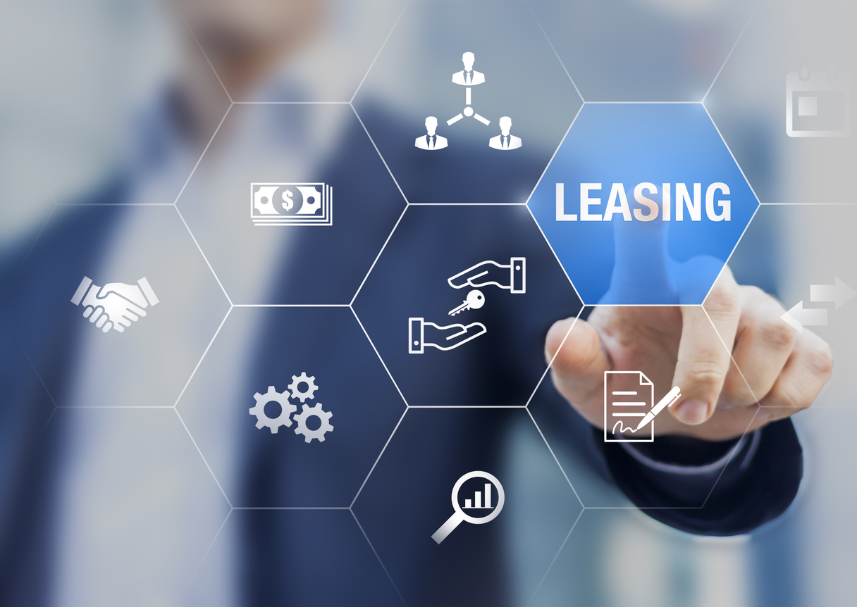 Leasing business concept with icons about contract agreement between lessee and lessor over the rent of an asset