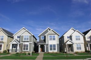 Front View of 3 Town Houses