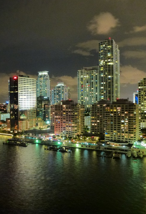 Ocean View of Miami Florida at Night
