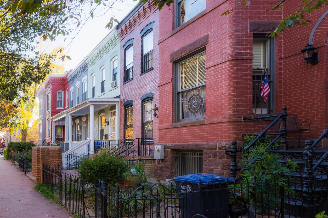 Washington DC Row Colorful Townhouses Brick Architecture Exterio