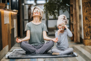 Mother and Daughter Practicing Yoga in Their Brookland Home