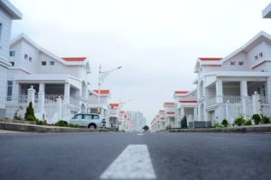 suburban neighborhood with white houses